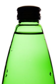 Water In A Green Glass Bottle Royalty Free Stock Images
