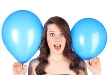 Free Teen With Blue Balloons Royalty Free Stock Image - 14264866