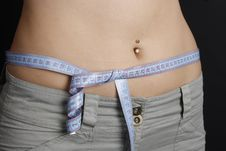 Free Woman Measuring Her Waist Stock Images - 14265054