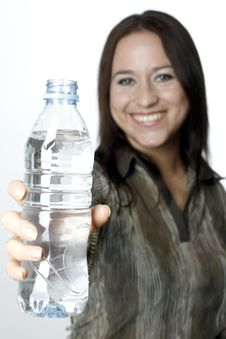 Woman With A Bottle Stock Photos