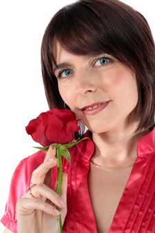 Free Beautiful Woman Holding A Red Rose Stock Image - 14266301