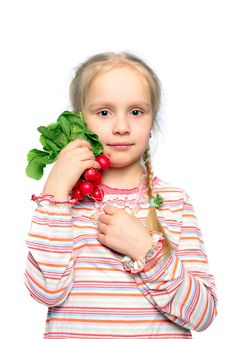 Free Child With Vegetable In The Hand Stock Images - 14266434