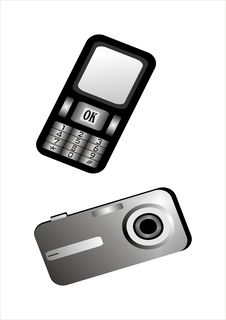 Mobile Phone And Digital Camera Royalty Free Stock Images
