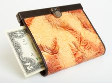 Free Two Dollar Bill In Purse Stock Images - 14267294