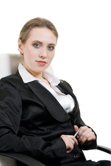 Free Portrait Of Smiling Business Woman On Office Chair Royalty Free Stock Images - 14268699
