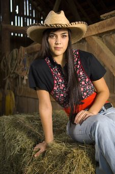 Free Cowgirl On Hay Stock Photos - 14268813
