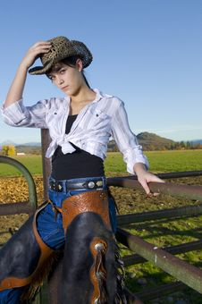Free Cowgirl On Fence Royalty Free Stock Photo - 14269665