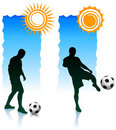 Free Soccer Players With Sunlight Banners Royalty Free Stock Image - 14271406