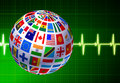 Free Flags Globe With Pulse Background Royalty Free Stock Photos - 14272008