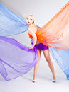 Free Beautiful Young Woman Wraped In Colorful Tulle Royalty Free Stock Photo - 14274135