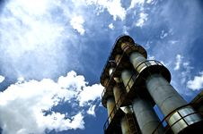 Factory Stacks And Blue Sky Royalty Free Stock Image