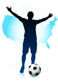 Free Soccer Player With United States Map Royalty Free Stock Photo - 14271415