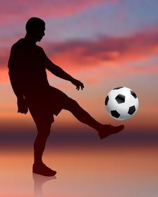 Free Soccer Player On Evening Background Royalty Free Stock Images - 14271449