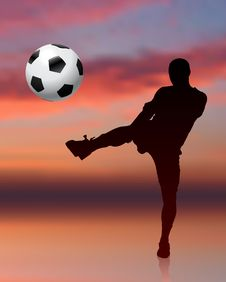 Free Soccer Player On Evening Background Stock Images - 14271454