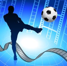 Soccer Player On Film Reel Background Royalty Free Stock Photos