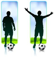 Free Soccer Player With Nature Banners Royalty Free Stock Image - 14271496