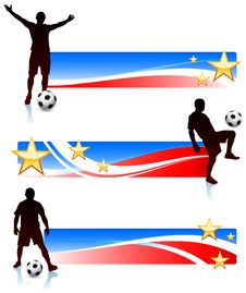 Free Soccer Players With Patriotic Banners Royalty Free Stock Photos - 14271528