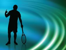 Free Tennis Player On Abstract Liquid Wave Background Stock Photography - 14271552