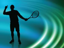Free Tennis Player On Abstract Liquid Wave Background Royalty Free Stock Photography - 14271557