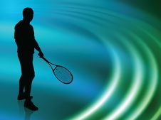 Free Tennis Player On Abstract Liquid Wave Background Royalty Free Stock Photos - 14271558