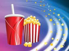 Free Popcorn And Soda On Liquid Background Royalty Free Stock Photo - 14271645