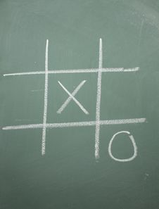 Free Tic Tac Toe On Blackboard Royalty Free Stock Photography - 14271667