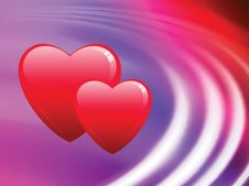 Free Hearts On Abstract Liquid Wave Background Royalty Free Stock Image - 14271706