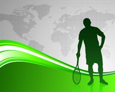 Free Tennis Player On Green Abstract Background Royalty Free Stock Photography - 14271757