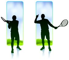 Free Tennis Player Set With Nature Frame Background Stock Photos - 14271773