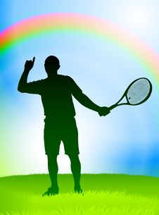 Free Tennis Player On Rainbow Background Royalty Free Stock Photo - 14271775