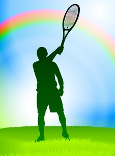 Tennis Player On Rainbow Background Royalty Free Stock Images
