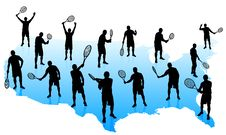 Free Tennis Team With United States Map Stock Images - 14271784