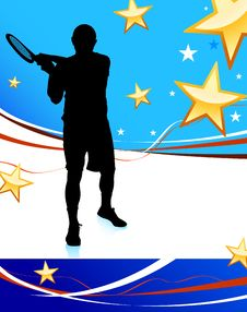 Free Tennis Player On Abstract Patriotic Background Stock Photography - 14271792