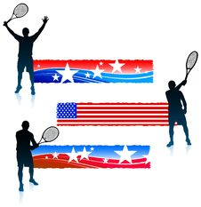 Free Tennis Player And United States Banner Set Royalty Free Stock Photo - 14271815