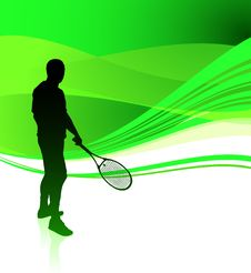 Free Tennis Player On Green Abstract Background Royalty Free Stock Photography - 14271837