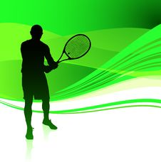 Free Tennis Player On Green Abstract Background Royalty Free Stock Images - 14271839