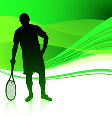 Free Tennis Player On Green Abstract Background Stock Image - 14271841