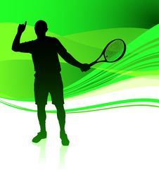 Free Tennis Player On Green Abstract Background Stock Photography - 14271842