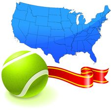 Free Tennis Ball With United States Map Royalty Free Stock Images - 14271849