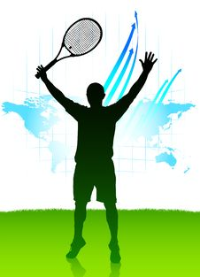 Tennis Player On World Map Background Stock Photo