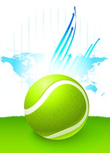 Free Tennis Ball With World Map Background Stock Image - 14271851
