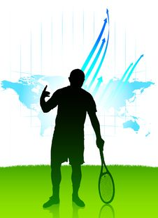 Tennis Player On World Map Background Royalty Free Stock Photos