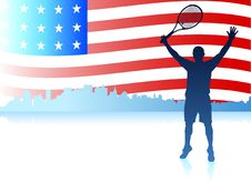 Free Tennis Players With United States Flag Background Royalty Free Stock Photo - 14271875