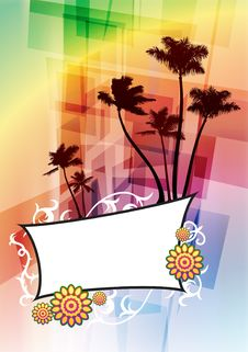 Free Tropical Frame On Abstract Background Stock Photography - 14271902
