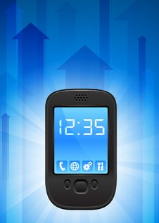 Cell Phone On Blue Arrow Background Stock Photo