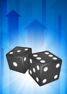 Free Dice On Blue Arrow Background Stock Photography - 14271912
