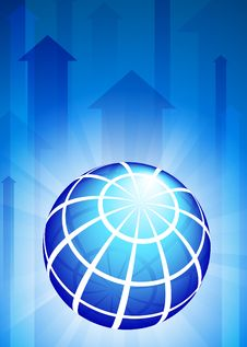 Free Globe On Blue Arrow Background Royalty Free Stock Images - 14271919