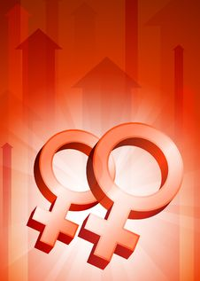 Free Lesbian Symbols On Red Arrow Background Royalty Free Stock Photography - 14271927