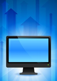 Free Computer Monitor On Blue Arrow Background Royalty Free Stock Photos - 14271928