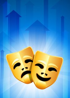 Free Tragedy And Comedy Masks On Blue Arrow Background Royalty Free Stock Images - 14271929